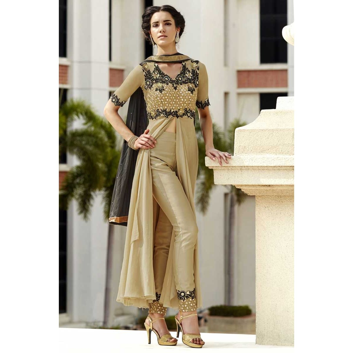 Clothes shops online, Trouser georgette dress for prom, Cream resham ...