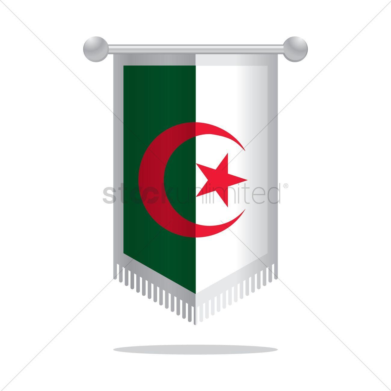 Pennant flag of algerian vectors, stock clipart , #AFF, #algerian, #flag, #Pennant, #clipart, #stock #affiliate