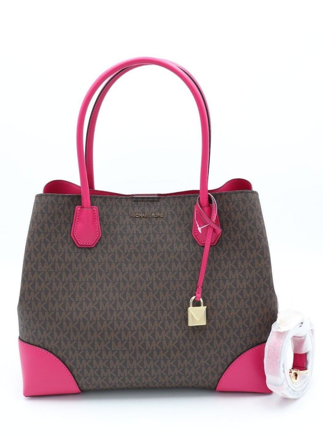 b62e084e5f722 NWT MICHAEL Michael Kors Mercer Gallery Brown Pink Signature Center Zip Tote  Bag  198.0  michael  kors  handbag