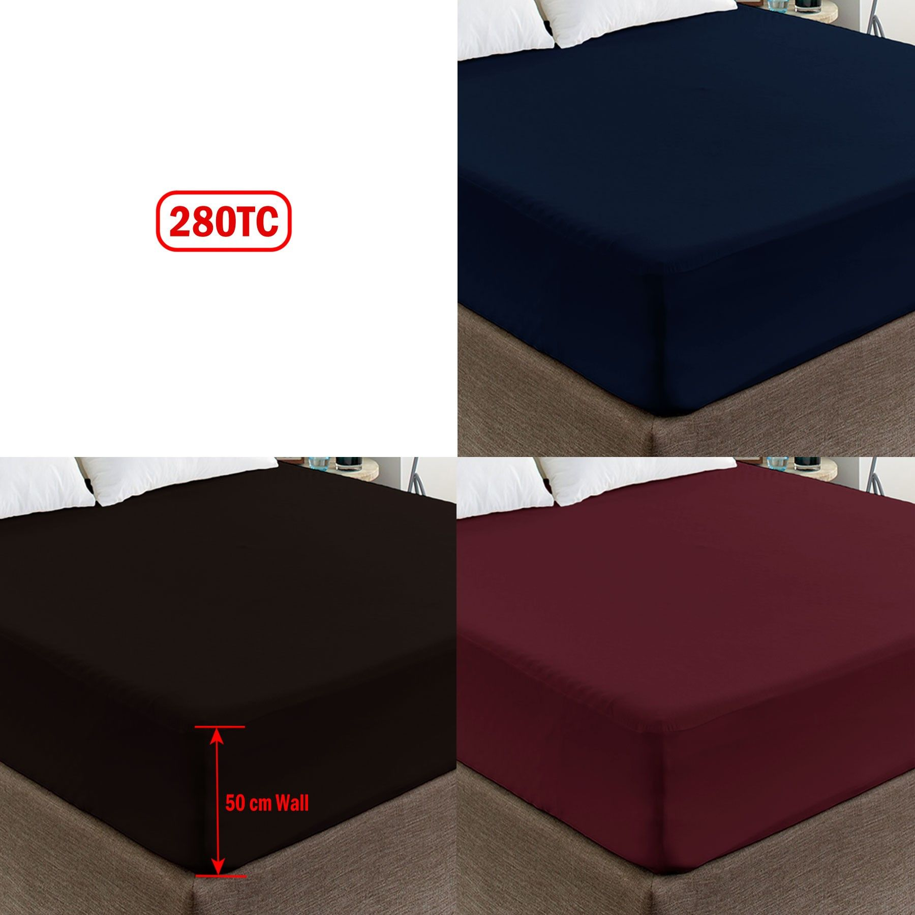 280tc polyester cotton percale 50cm wall fitted sheet