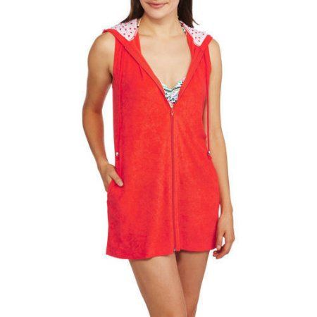 99fa56d67d627 Catalina Women's Zip-Front Hooded Terry Swim Cover-Up, Size: Small, Orange