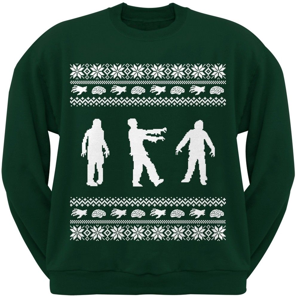 Zombie Ugly Christmas Sweater Dark Green Adult Crew Neck Sweatshirt ...