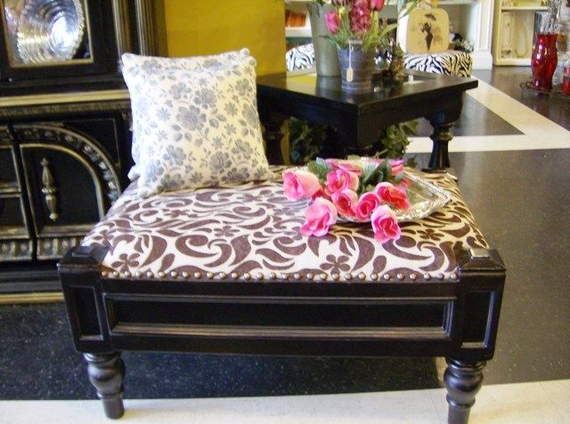 Elegant brown decorated ottoman 'available'. Love! My favorite place to shop!!