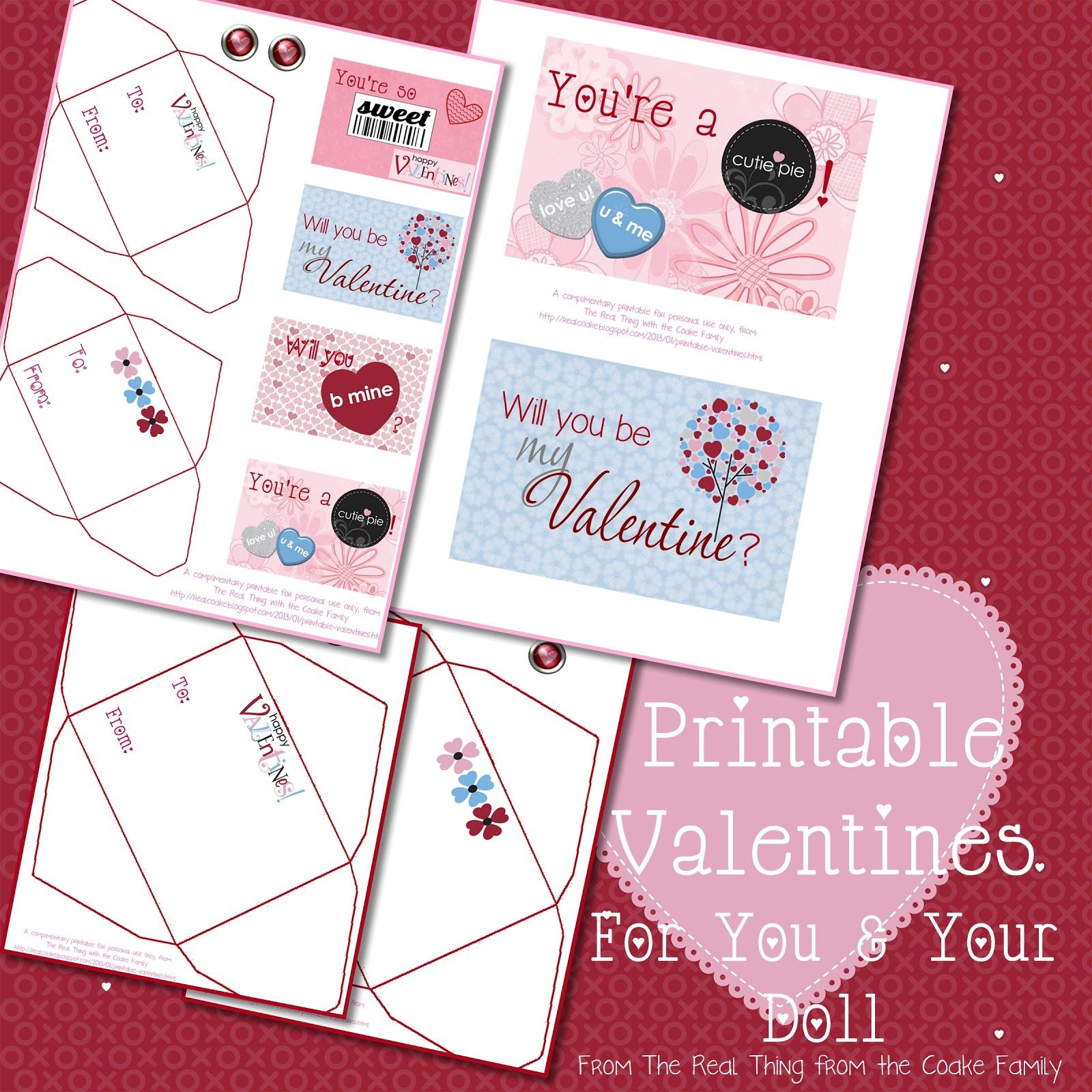 Printable Valentines In Two Sizes One Doll Sized And One
