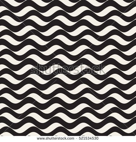 vector seamless black and white wavy horizontal lines pattern abstract geometric background design