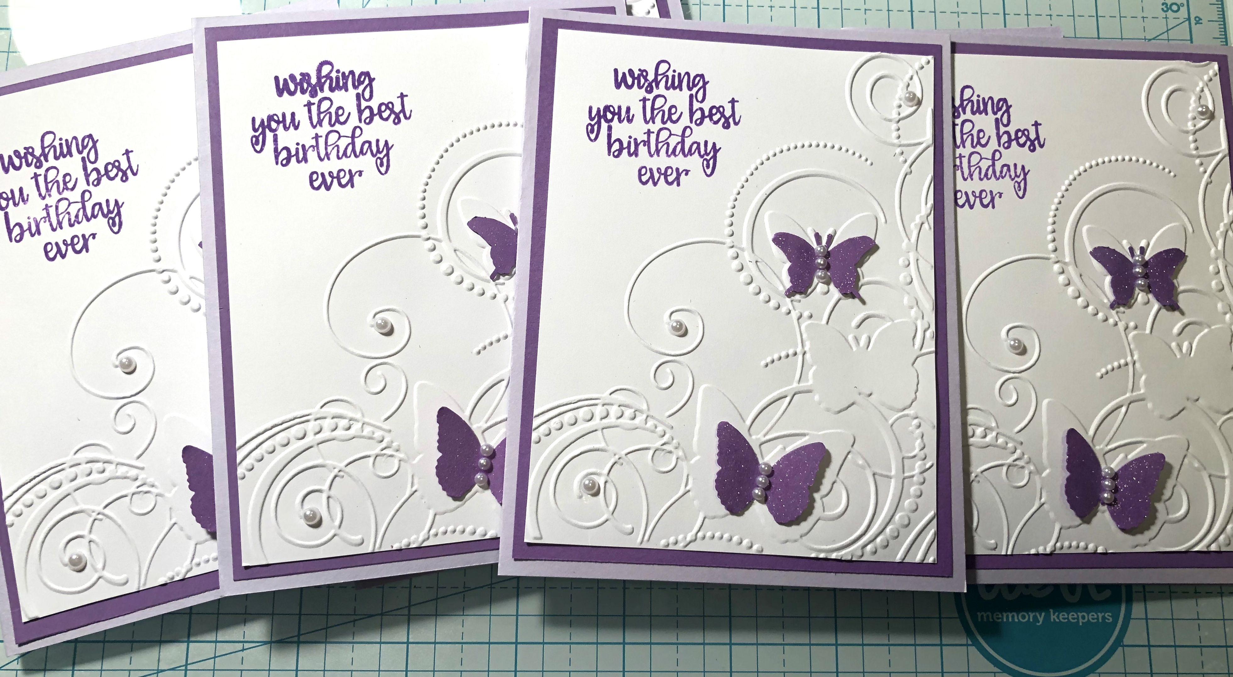 Embossing purple butterflies with pearls cards handmade