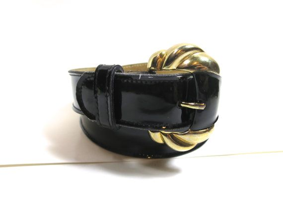 Black Patent Leather Belt Gold Tone Buckle Can 9871 Size Large  31 to 34 inch Waist by Calderon 9871 Classic 1980's Black Patent Belt