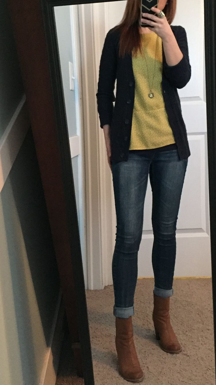 Navy cardigan sweater, mustard yellow top, skinny jeans, camel ...