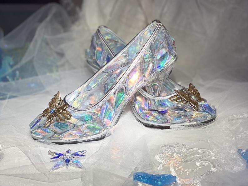 New Cinderella Crystal Diamond Transparent Glass Slipper Princess Wedding Pump Heel Shoes For Birthday Wedding Anniversary And Holidays In 2021 Glass Slipper Pumps Heels Wedding Pumps