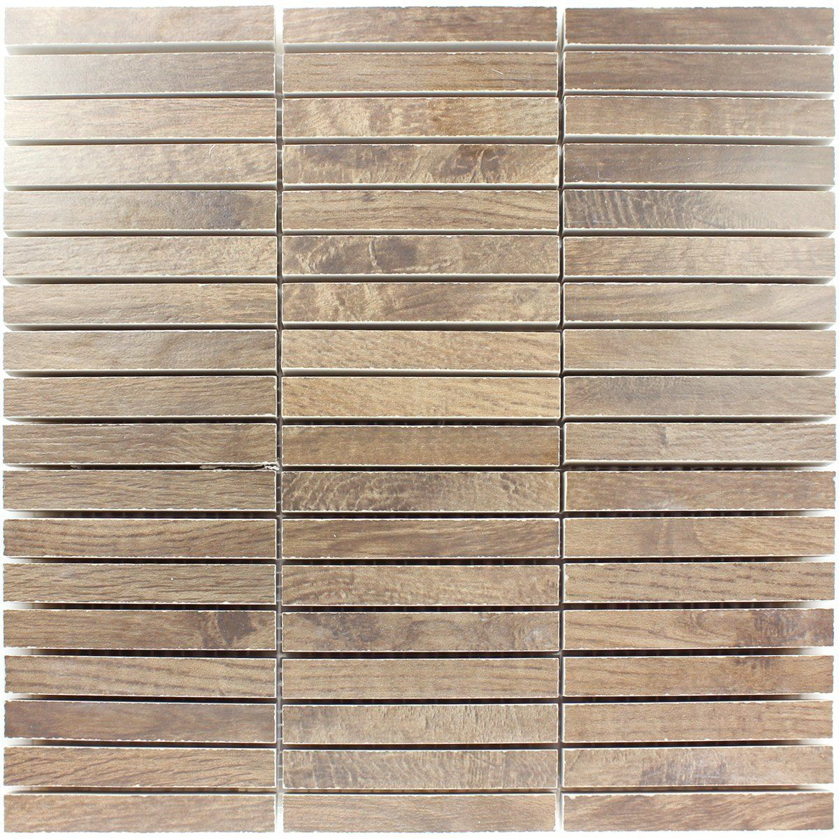 Loures Holzoptik Wood Mosaik Fliesen Braun | EBay
