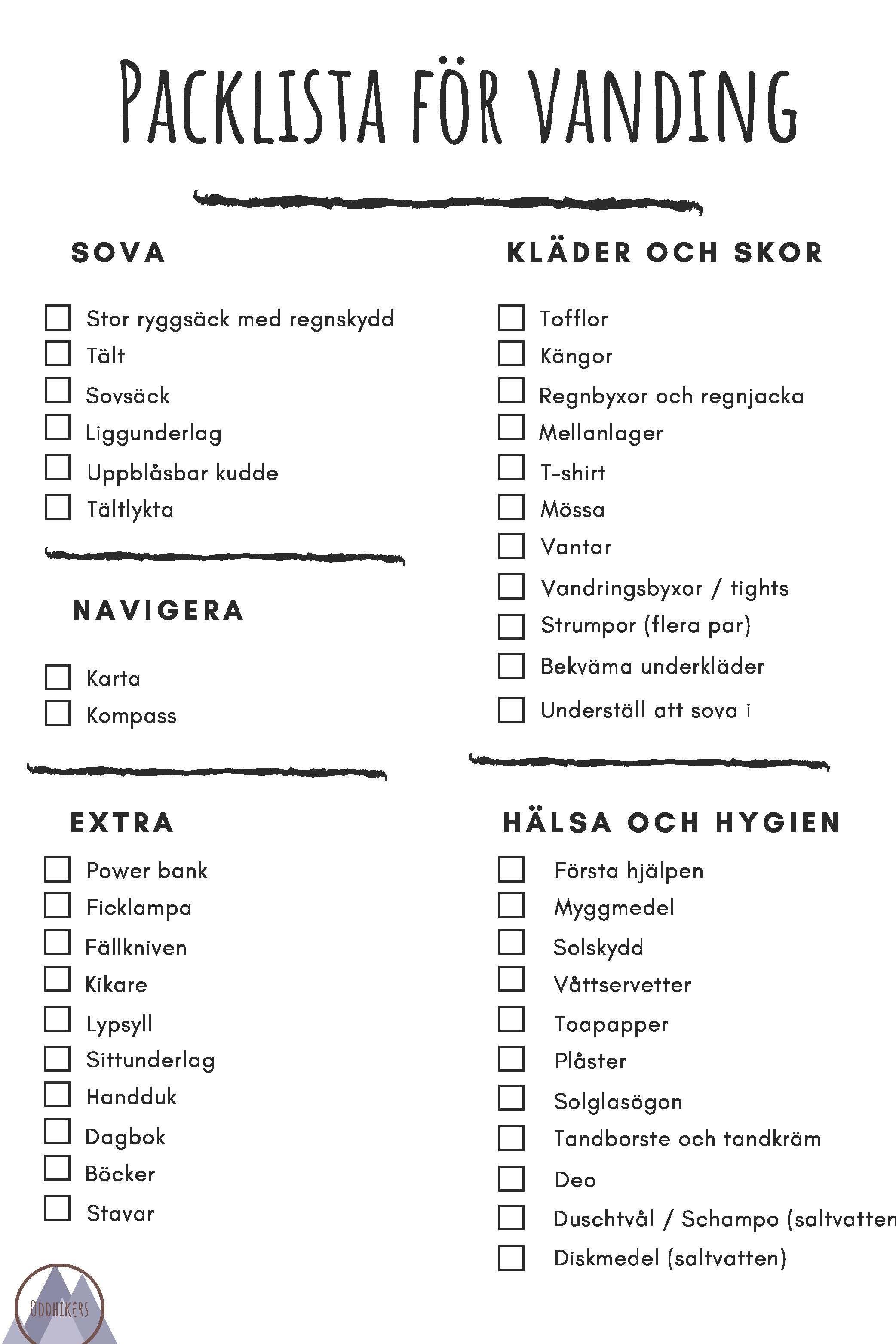 Packlista för vandring Det ska du ha med dig | Oddhikers.se