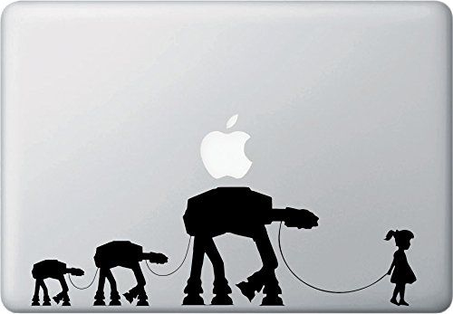 "Girl Walking Robot Family - Macbook or Laptop Decal Sticker - Yadda-Yadda Design Co. (11""w x 3.5""h) (BLACK) Yadda-Yadda Design Co. http://www.amazon.com/dp/B00O2KPJBE/ref=cm_sw_r_pi_dp_.WFYub0MW38RA"