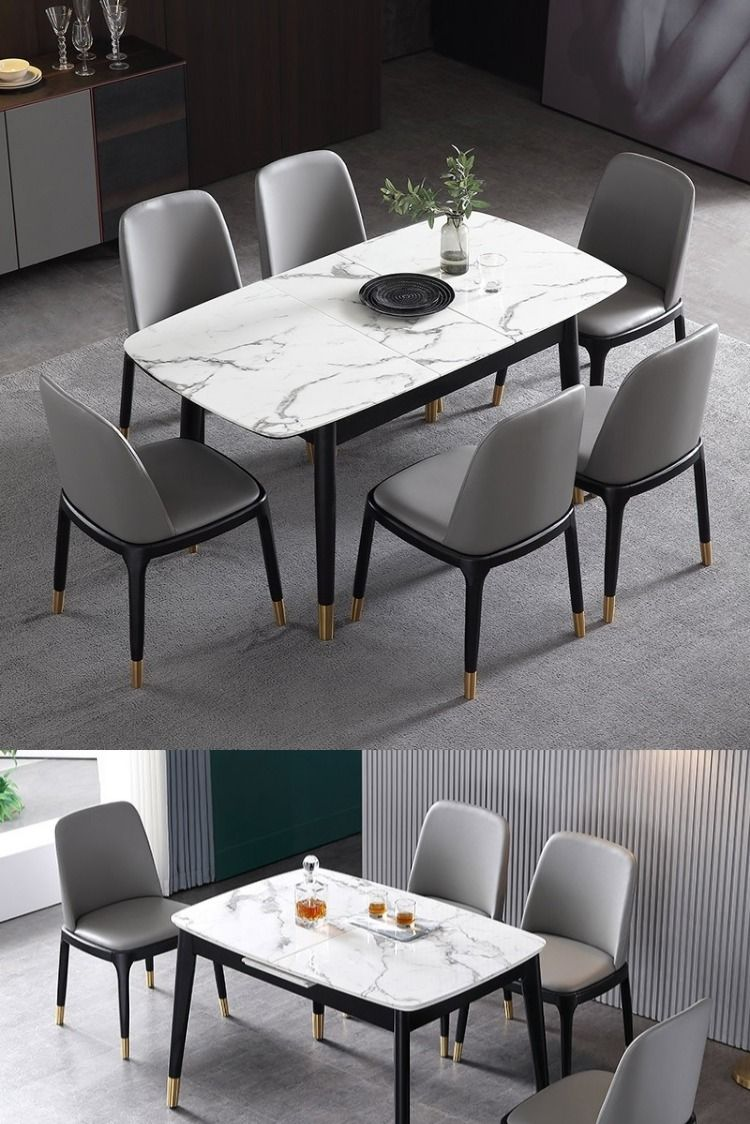Rectangular Extendable Faux Marble Dining Table With Marble Veneer Top Modern Dining Table 55 To 71 Wood Legs Dining Table Marble Modern Marble Dining Tables Dining Table Design Modern