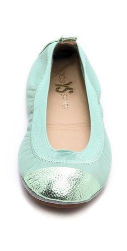 Yosi Samra Samantha Metallic Cap Toe Ballet Flats | SHOPBOP