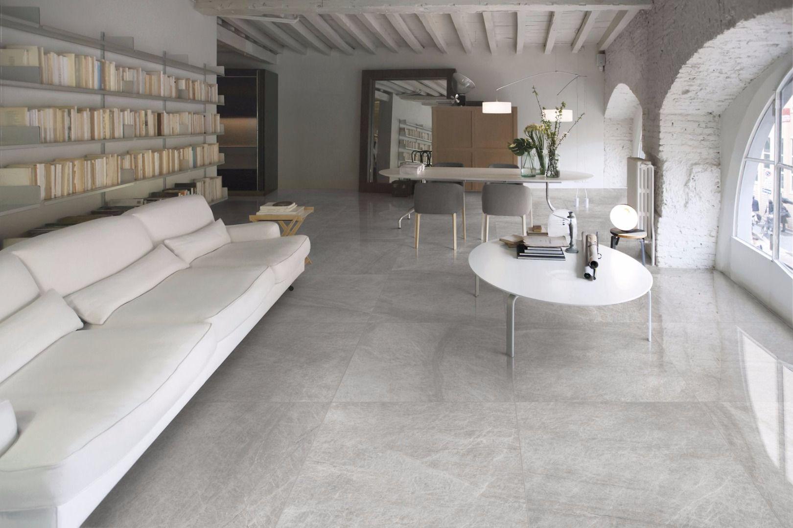 Mimica Grey Emperador Gloss Porcelain Living Room Tiles Grey Marble Floor Grey Flooring Living Room #stone #floor #living #room