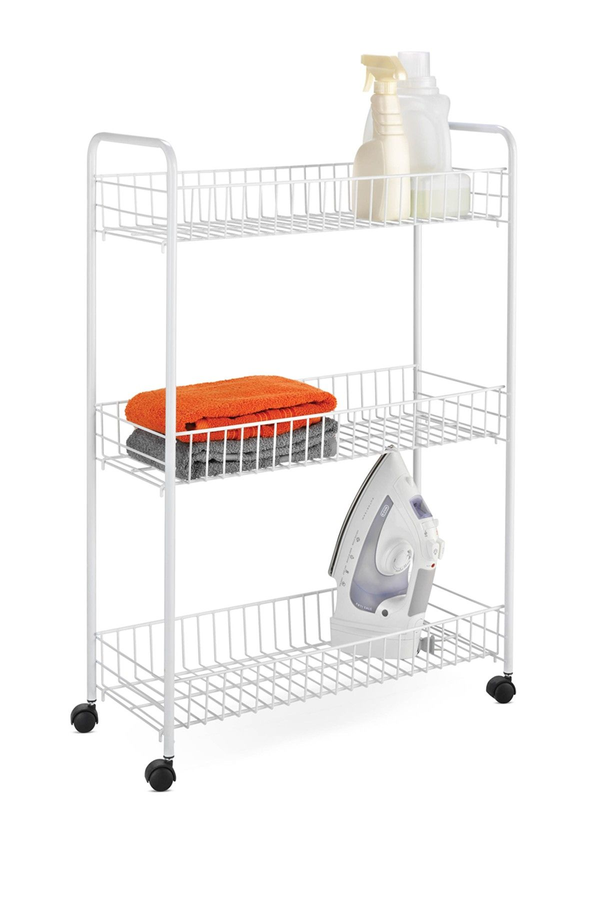 3 Tier Rolling Laundry Cart White Home Tools Laundry Cart