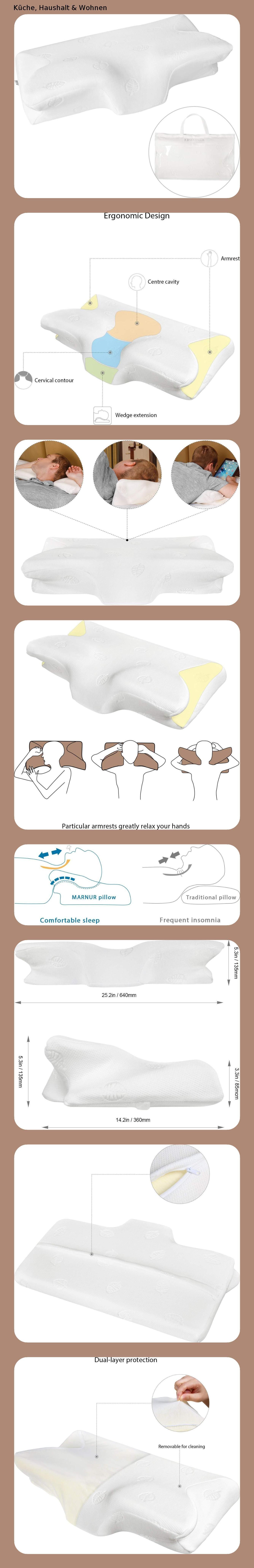 Marnur Orthopädisches Kissen Nackenstützkissen Ergonomisches Kopfkissen Memory Schaum Kissen Memo Nackenstützkissen Kissen Memory Foam