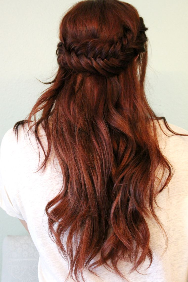 reddish brown hair color pinterest half up fishtail hair tutorial hair hair color auburn hair brown hair