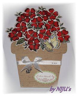 Anett´s Kreativkiste Blumentopfkarte Geburtstagskarte Blumen im Topf gestempelt