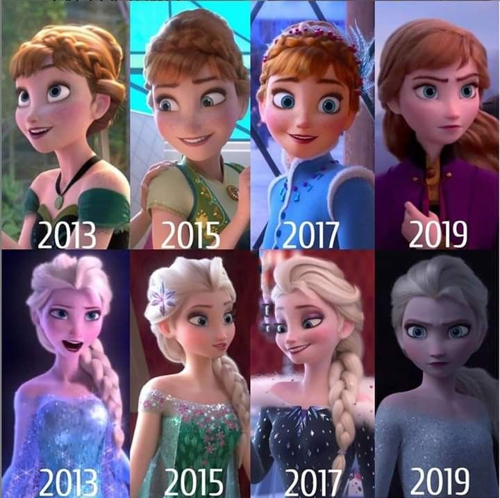 Elsa Has Her Hair Up In A Ponytail And Anna Actually Has Her Hair Down And Is Not Messy It Disney Princess Memes Disney Princess Pictures Disney Princess Elsa