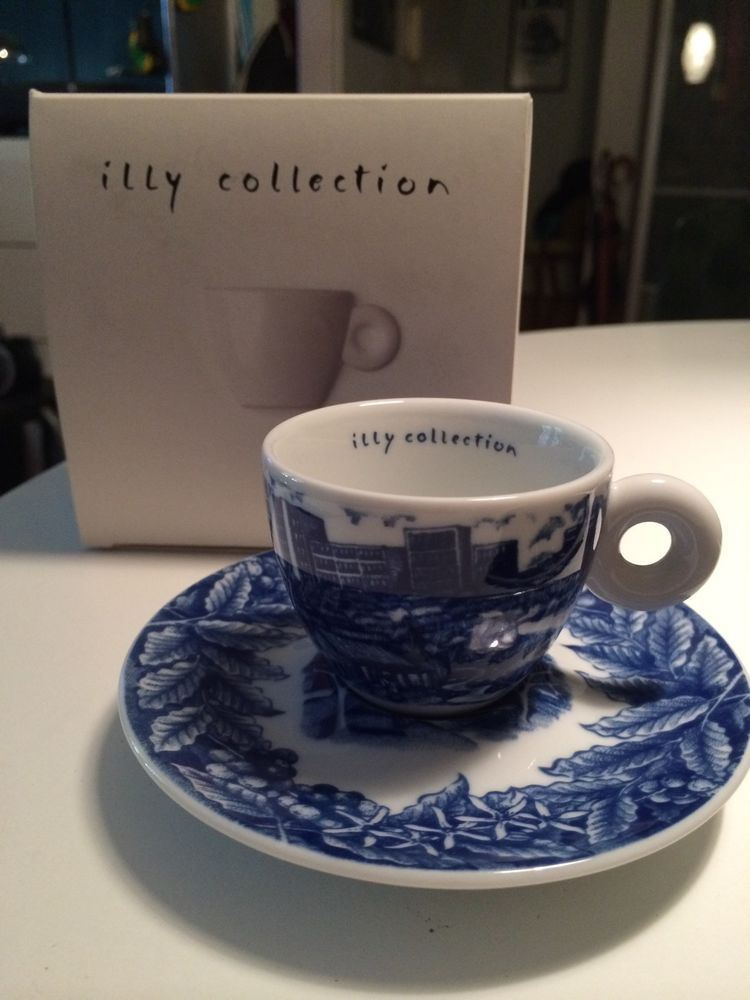 Rufus Willis Illy Rosenthal Espresso Coffee Cup Saucer Set 2005 NIB Blue  White #ILLY
