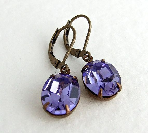 Tanzanite Earrings .. vintage glass earrings by beadishdelight