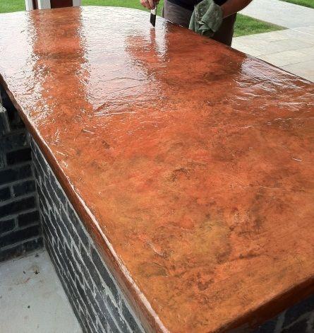 Kitchen Concrete Counter Copper Look Alike My New Favorite Outdoor Kitchen Countertops Concrete Countertops Countertops