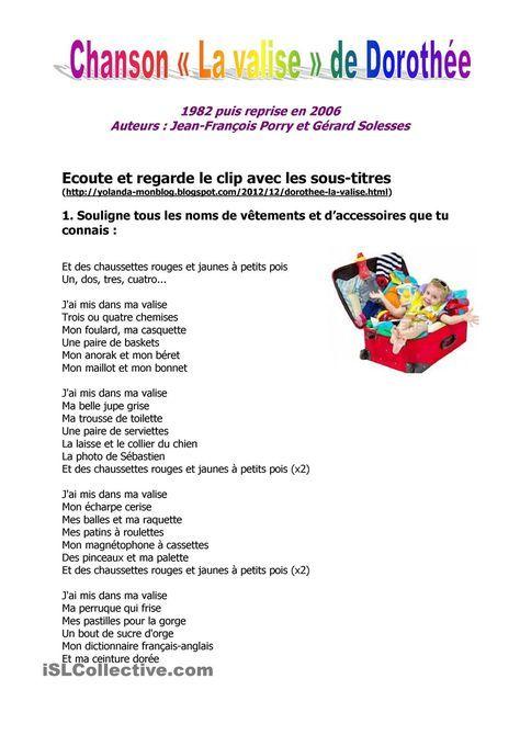 Chanson La Valise De Dorothe French Clothing Pinterest