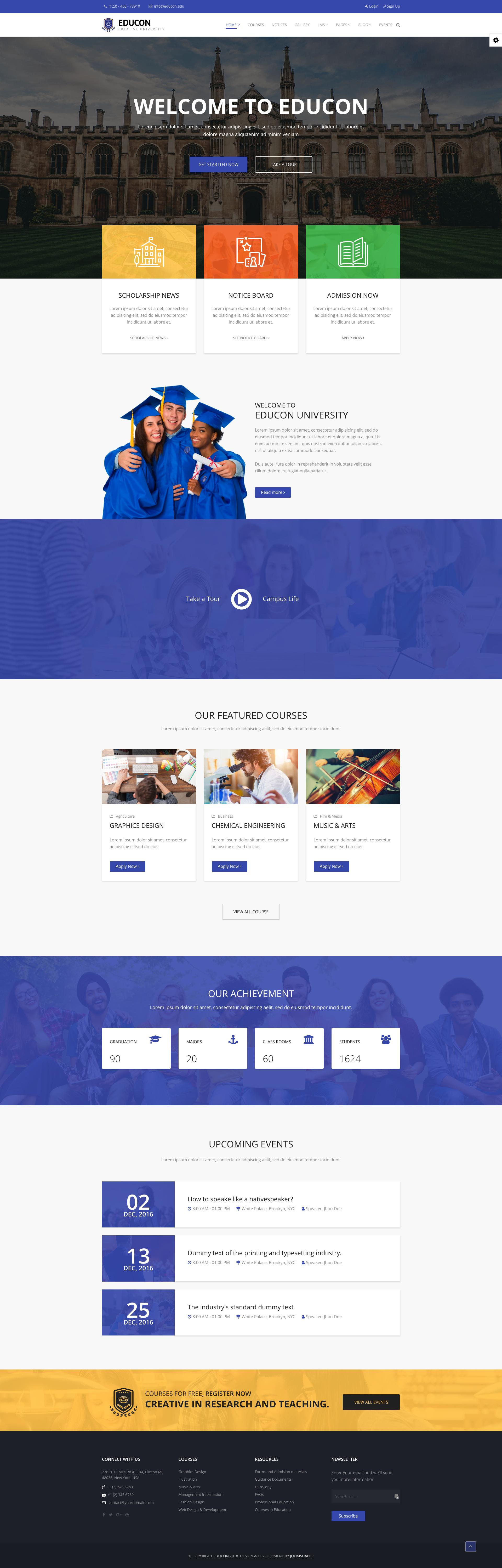 Educon Modern Joomla Template For University College School Joomla Templates Portfolio Web Design Web Design
