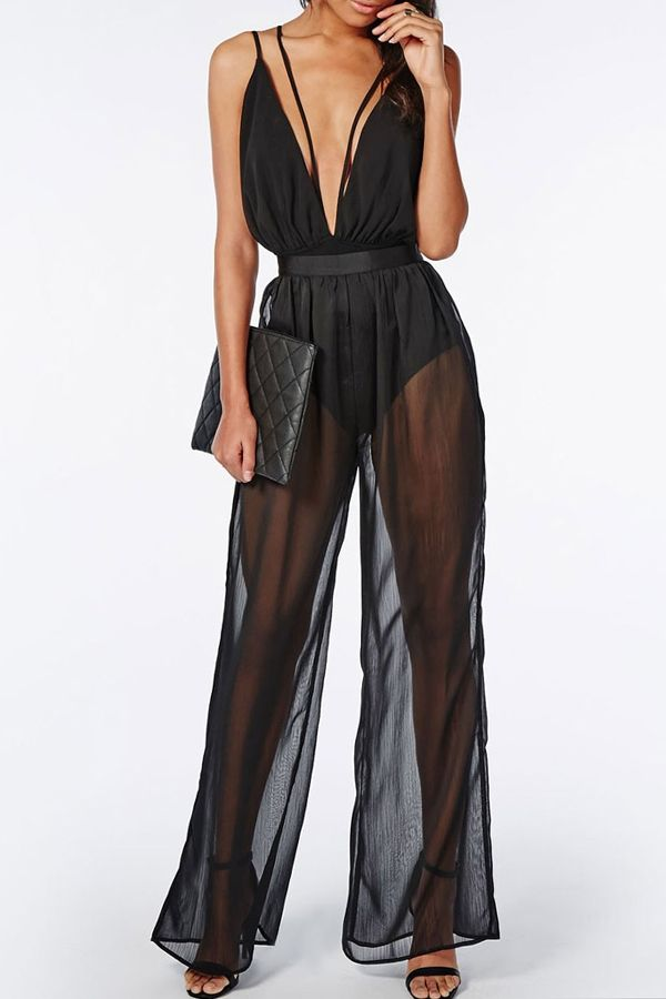 da09bf24a0 Plunging Neck See-Through Wide Leg Jumpsuit BLACK  Jumpsuits   Rompers