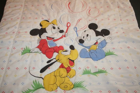1984 Dundee Baby Crib Comforter Blanket Mickey By