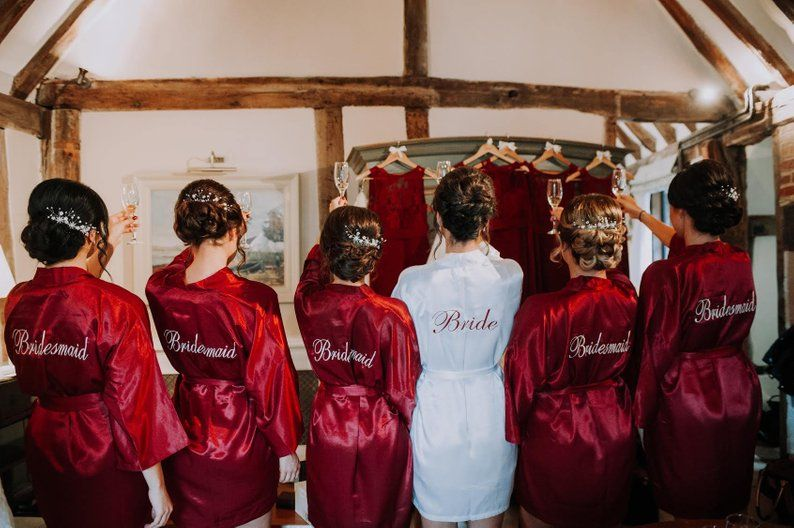 Personalized Bridesmaid Robe Red Burgundy Wedding Robe Cheap Etsy Bridesmaid Robe Personalized Wedding Robe Bridal Party Robes