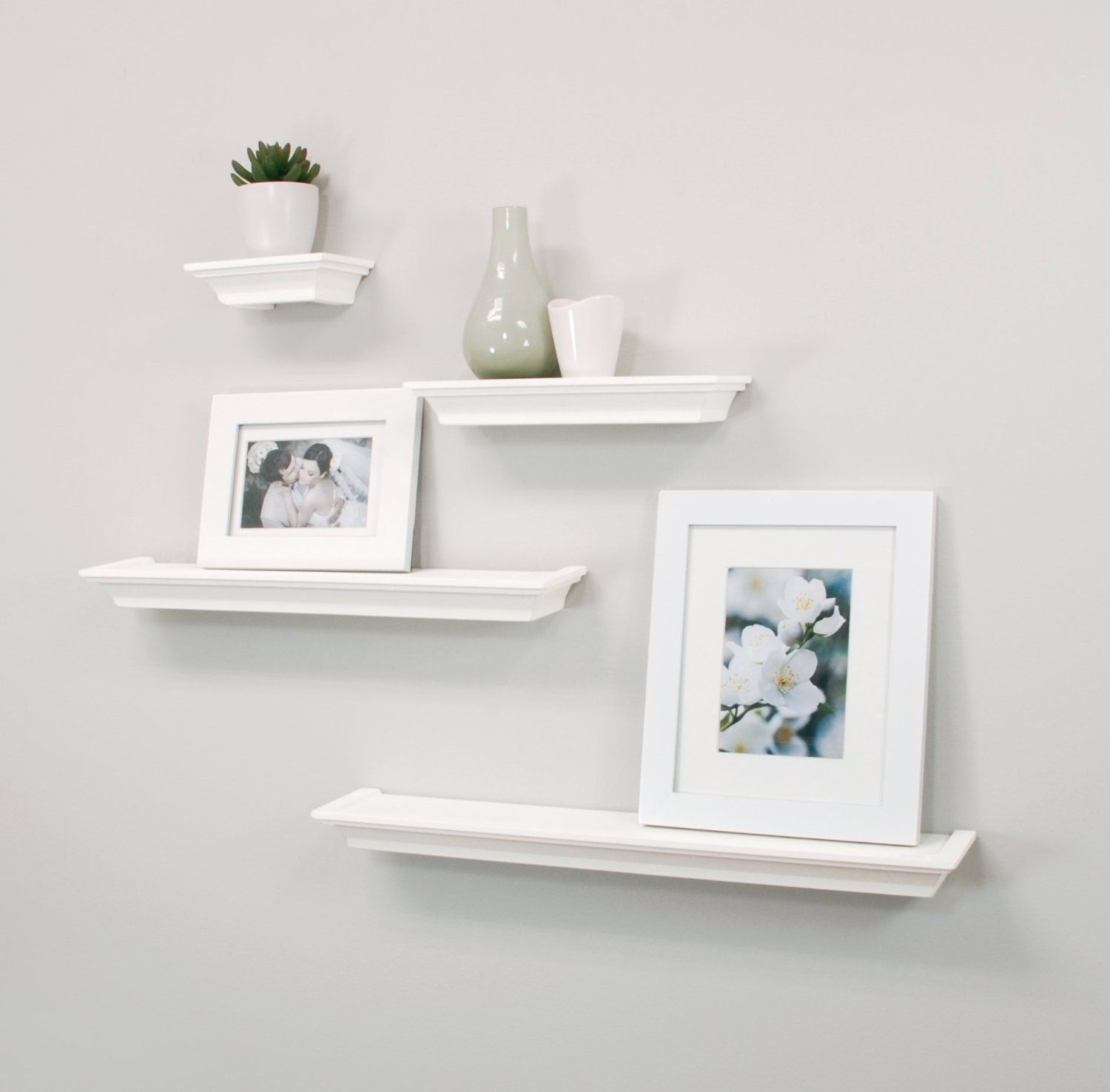 Net Clic Set Of 4 Multilength Floating Ledge Shelves White