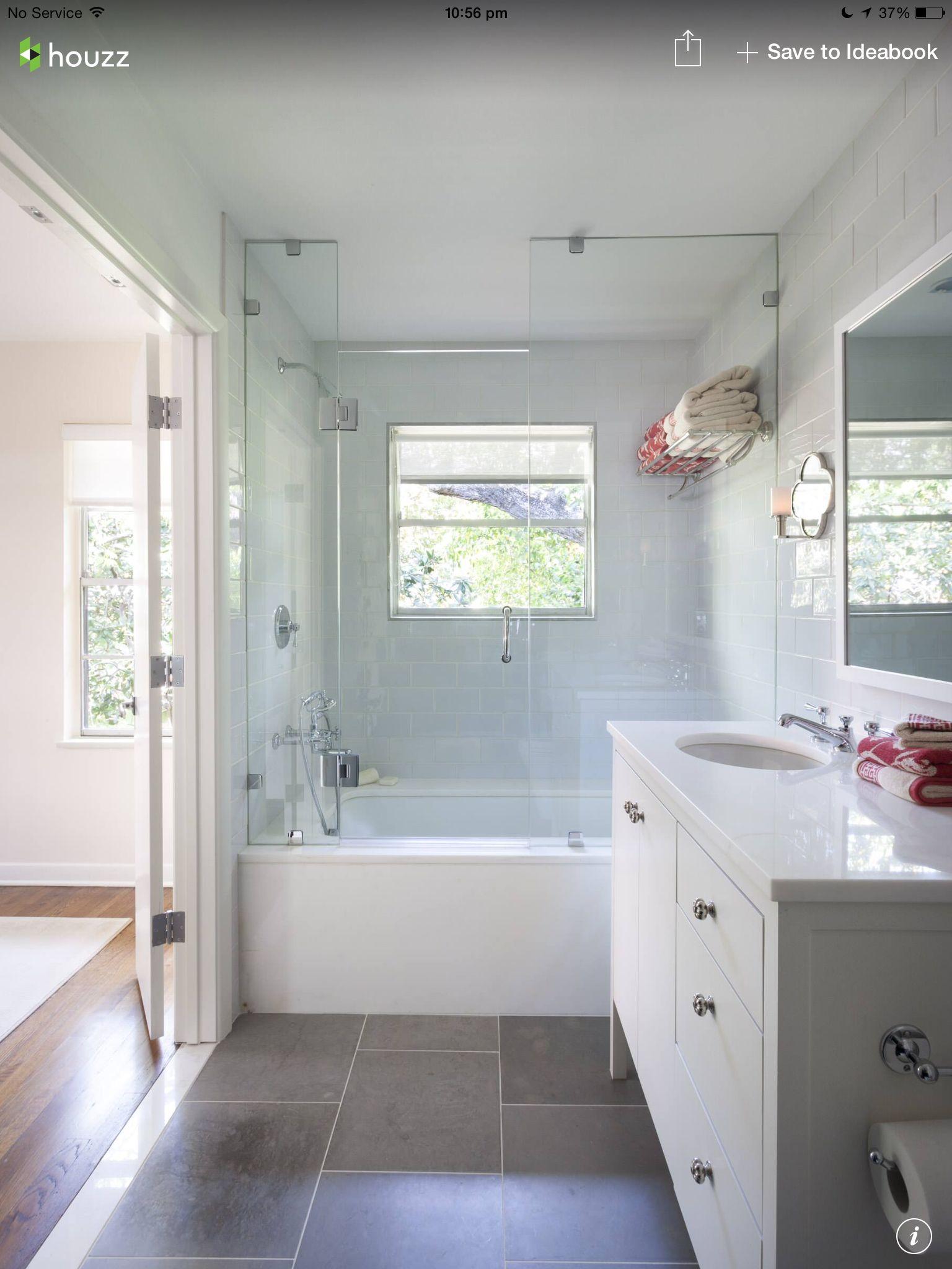 Large Mid Grey Floor Tiles With Soft Grey Subway Wall Tiles Houzz Bathroom Tub Shower Combo Bathtub Shower Combo Bathroom Tub Shower