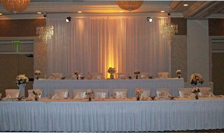 Tiered wedding head table w/ lighted backdrop, serpentine dessert ...