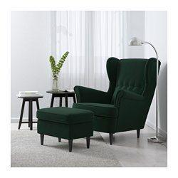 IKEA   STRANDMON, Wing Chair, Nordvalla Dark Gray, , You Can Really Loosen