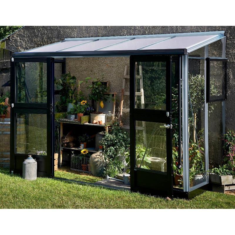 Serre Veranda adossée 4.4m² aluminium laqué anthracite et verre ...