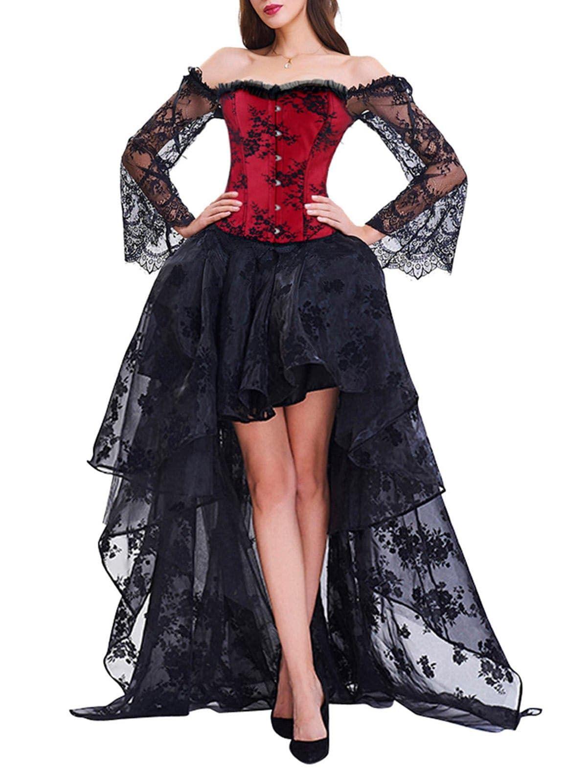 High Low Two Piece Corset Dress Black Party Dresses Corset Dress Queen Dress [ 1596 x 1200 Pixel ]