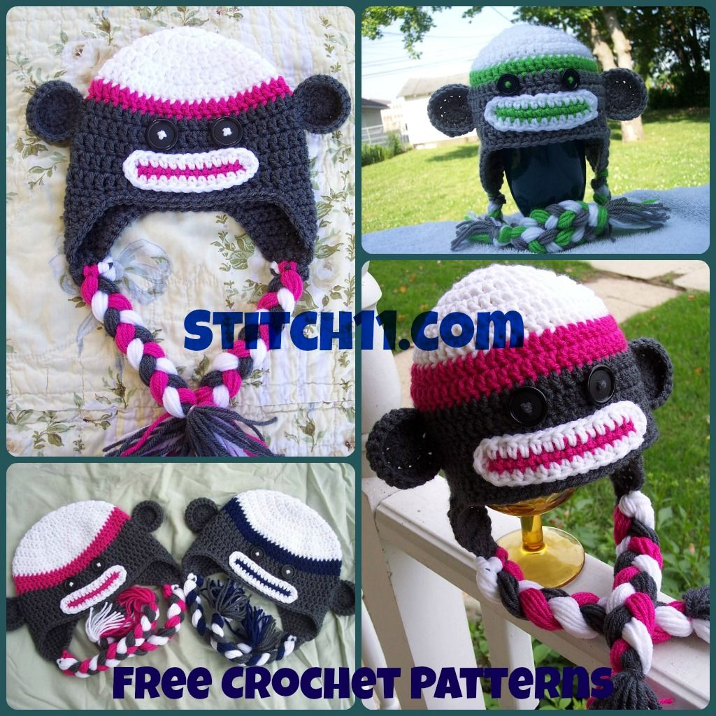 Free patterns sock monkey hats crochetholic hilariafina crochet sock monkey hat pattern provides link to this cute pattern dt1010fo
