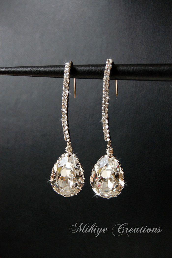Bridal Earrings Wedding Accessories Chandelier Swarovski Crystal Cubic Zirconia Drop Jewelry Decadence 42 00 Via Etsy