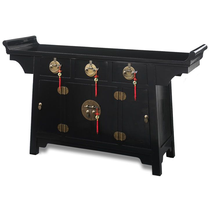 Chinese Altar Cabinet In Black Lacquer Or Natural Wood Finish With Brass  Hardware, Made From