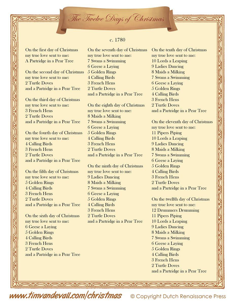 12DaysofChristmasLyrics.jpg (927×1199) Christmas