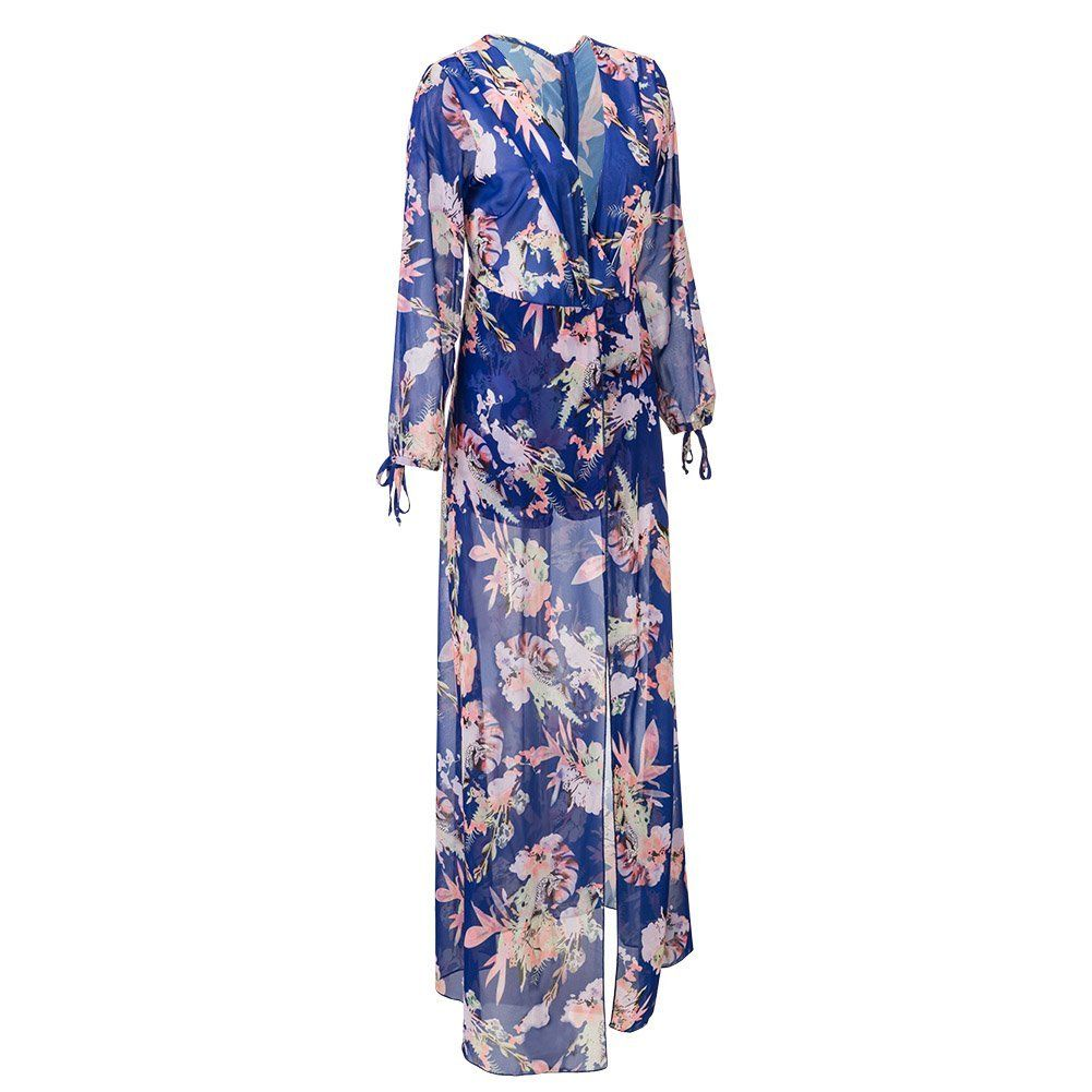 70a3b82bb0db Bodycon4U Women s Summer Floral Print Plunging V Neck Long Tail Romper Maxi  Dress at Amazon Women s Clothing store