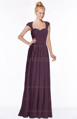 b7abcf025d6d Plum Modest Sleeveless Half Backless Chiffon Floor Length Bridesmaid Dresses
