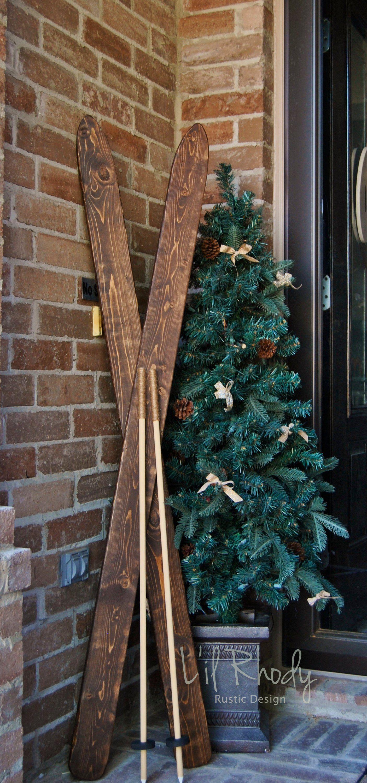 Wooden Skis Christmas Ski Decoration Rustic Skis Winter