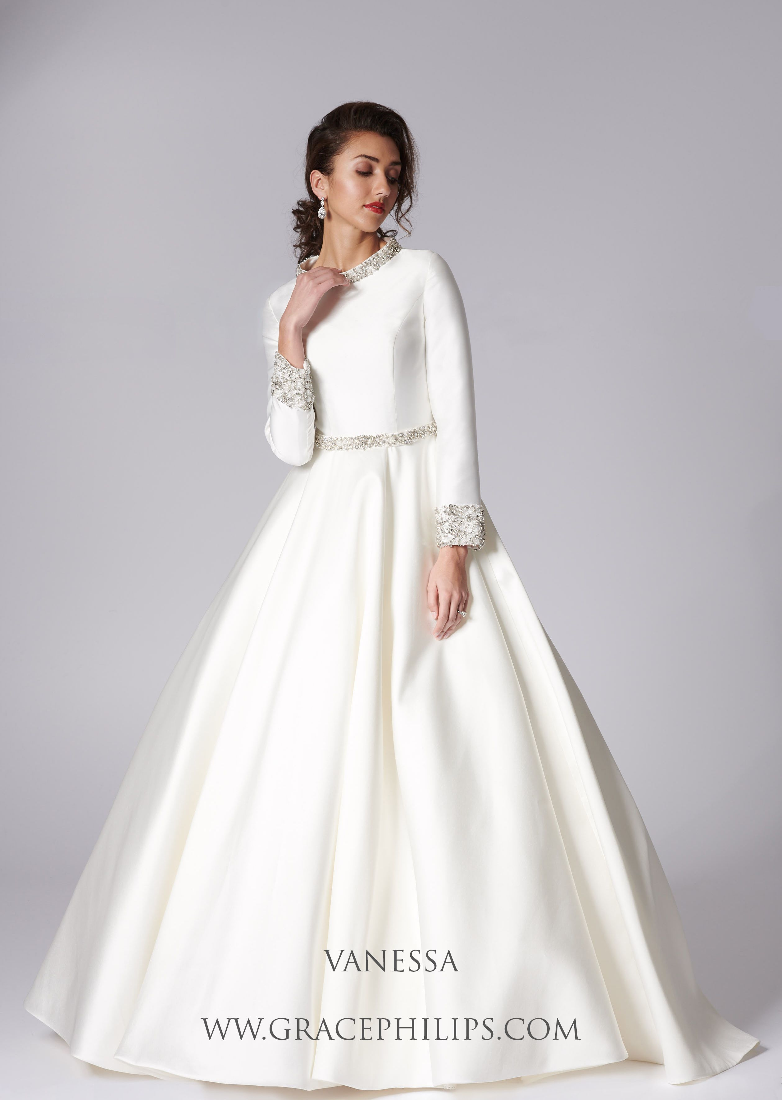 Modest Elegant And Modern Vanessa Is An Ivory Mikado Wedding Dress With Diamante Detail Modest Wedding Dresses Ball Gown Wedding Dress Wedding Dresses Simple [ 3541 x 2518 Pixel ]
