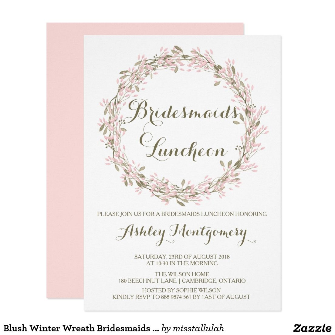 bridesmaids lunch wedding bridal shower chic pink blush wreath floral flowers invites announcements invitations wedding bridesmaids lunch