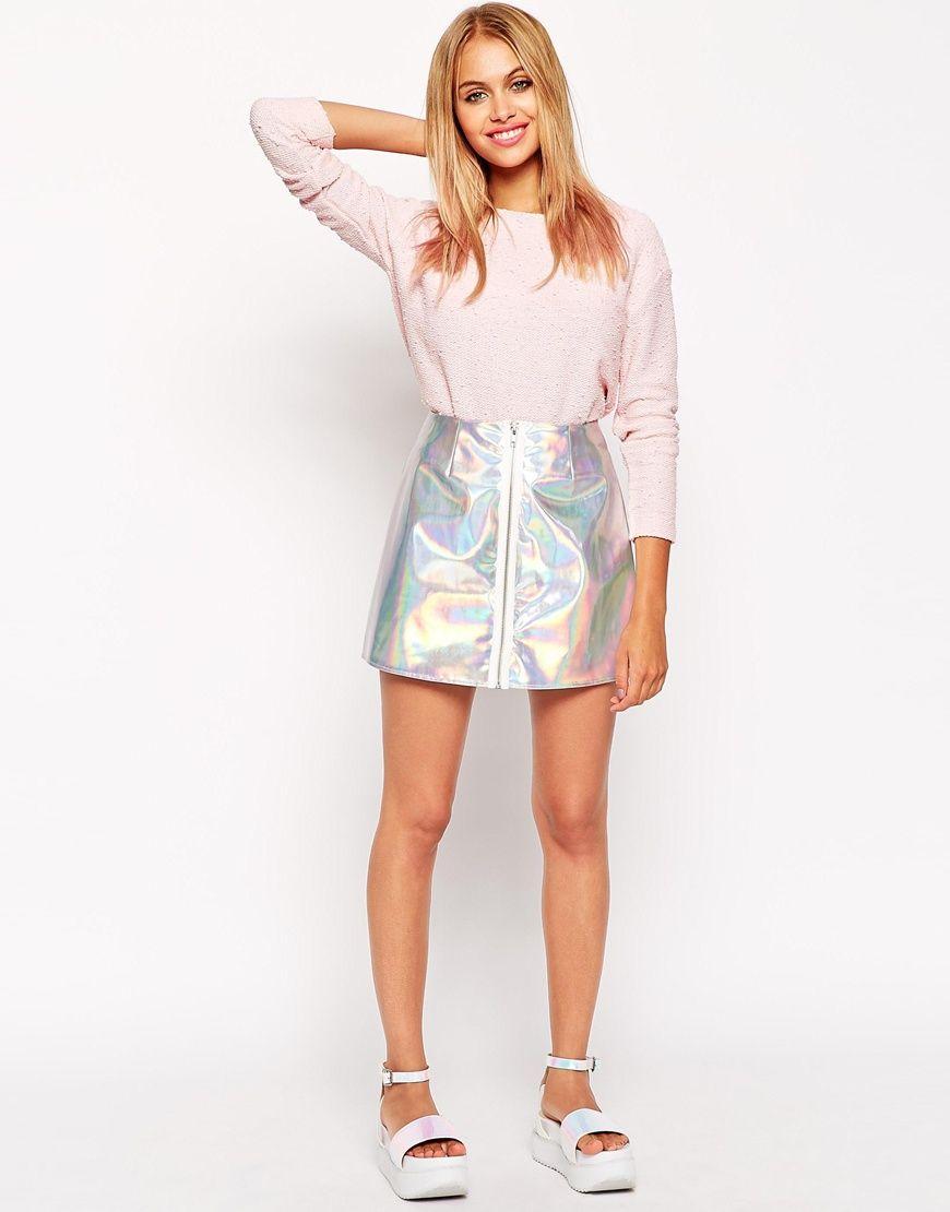 3d4d06d51d3 ASOS Holographic Mini Skirt with Zip Front