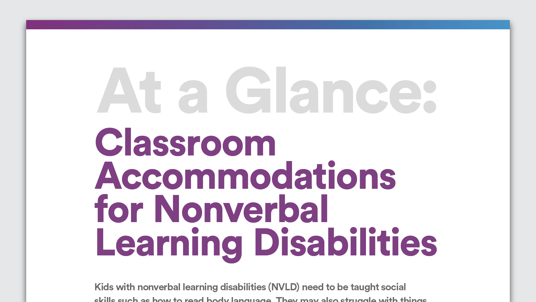 Classroom Accommodations For Nonverbal Learning