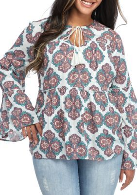 Red Camel  Plus Size Medallion Printed Peasant Blouse